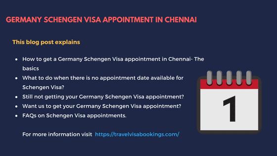 Schengen Germany visa Appointment in Chennai