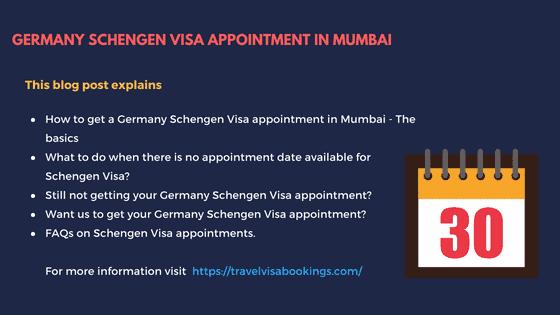 Germany Schengen visa Appointment in Mumbai