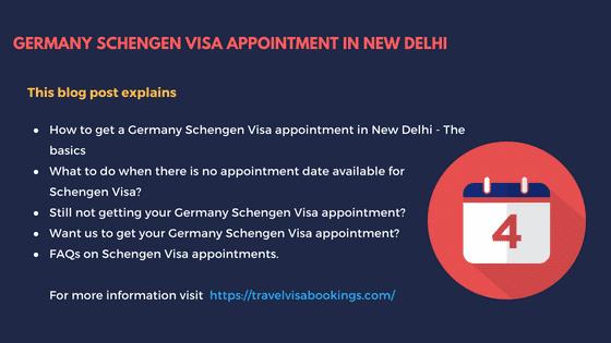 Germany Schengen visa appointment in New Delhi