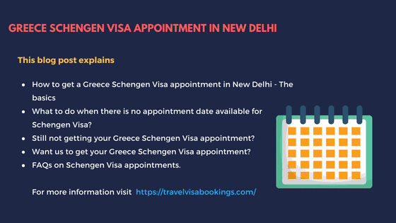 Greece Schengen visa appointment in New Delhi