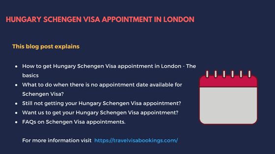 Hungary Schengen visa appointment in London