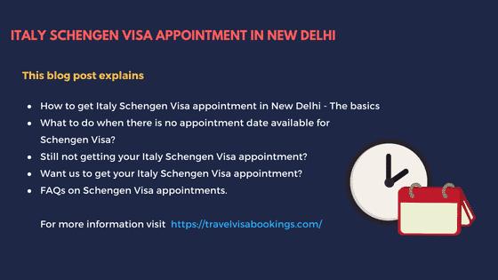 Italy Schengen visa appointment from New Delhi