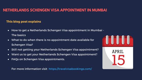 Netherlands Schengen visa Appointment in Mumbai