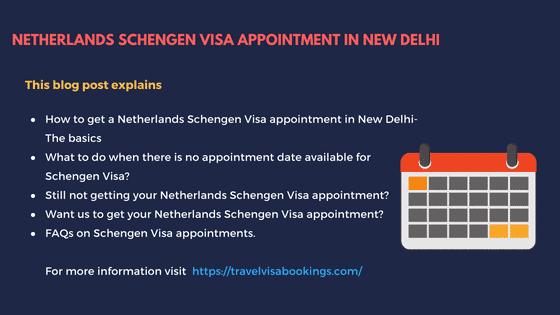 Netherlands Schengen visa Appointment in New Delhi