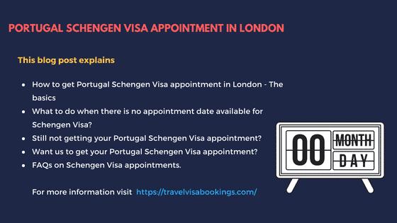 Portugal Schengen visa appointment in London