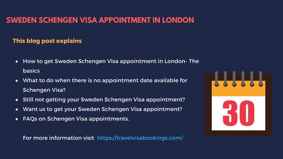 No Schengen visa appointment for Sweden from London