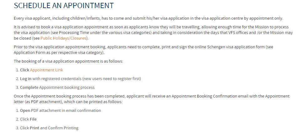 No Schengen visa appointment for Switzerland VFS 3