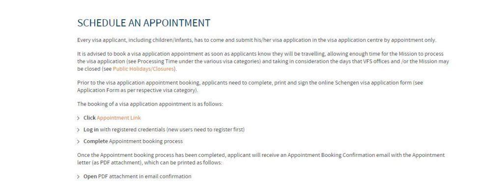 Schengen visa schedule an appointment page