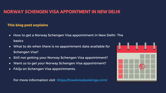 Norway Schengen visa Appointment in New Delhi