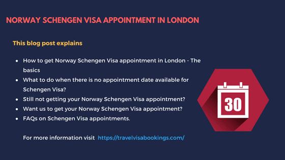 Norway Schengen visa appointment in London