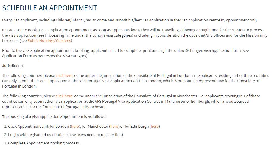 Portugal Schengen visa appointment in Manchester 2