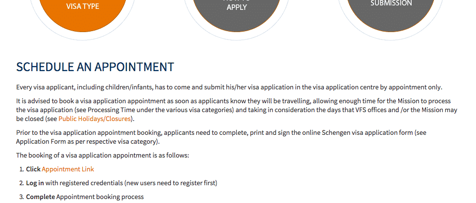 Schedule appointment for Netherland Schengen visa
