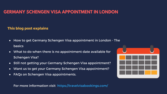 Germany Schengen Visa appointment from London