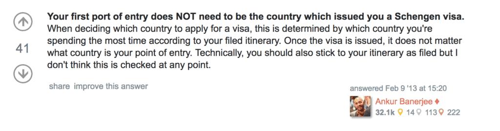 enter first Schengen country