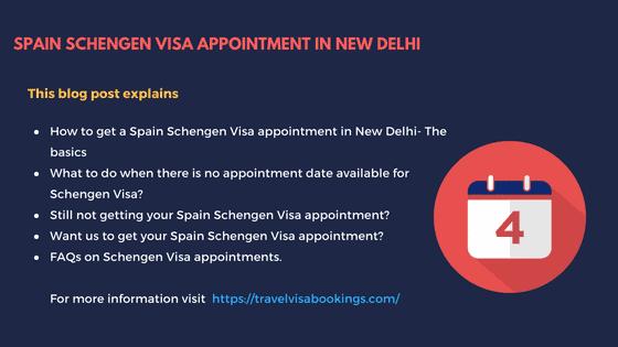 Spain Schengen visa appointment in New Delhi