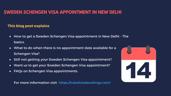 Sweden Schengen visa appointment in New Delhi