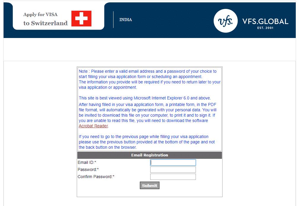 Switzerland New Delhi VFS 4