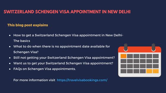 Switzerland Schengen visa Appointment in New Delhi