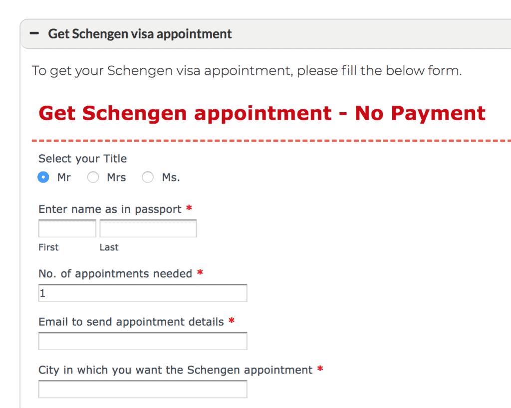 Get Schengen appointment - No payment