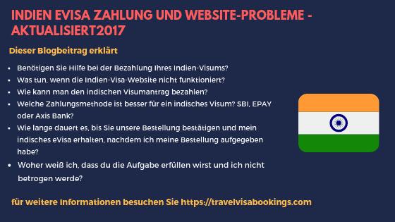 Indien eVisa Zahlung und Website-Probleme - aktualisiert2017