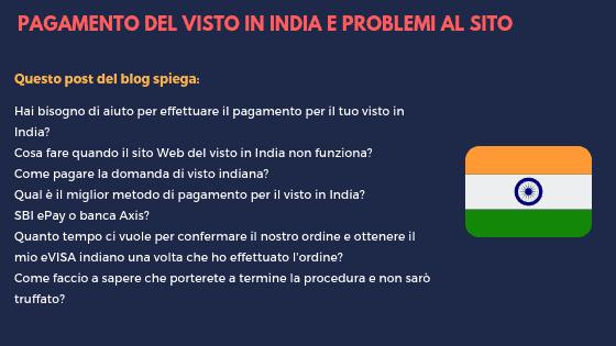 PAGAMENTO DEL VISTO IN INDIA E PROBLEMI AL SITO AGGIORNATI AL 2018